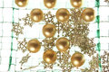 Christmas balls background on the green plate Royalty Free Stock Photos