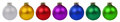 Christmas balls baubles decoration border in a row isolated on w Royalty Free Stock Photo