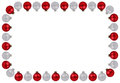 Christmas balls baubles red silver frame copyspace copy space is Royalty Free Stock Photo