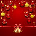 Christmas balls and bells on red background with confetti bow illustration Stock Photos