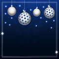 Christmas balls on blue background new year s Stock Photos