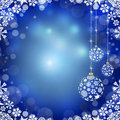Christmas balls on blue background new year s and snowflakes a Royalty Free Stock Photo