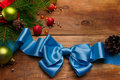 Christmas balls and bow blue satin Stock Images