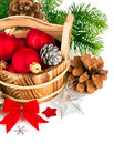Christmas balls with branch firtree and red bow on white background Royalty Free Stock Image
