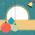 Christmas balls card and bell with banner and blank rounded frame Royalty Free Stock Photo