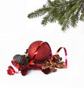 Christmas balls and christmas tree Royalty Free Stock Photography