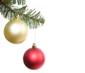 Christmas balls on Christmas tree branch Royalty Free Stock Image