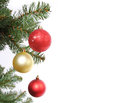Christmas balls on Christmas tree branch Royalty Free Stock Photos