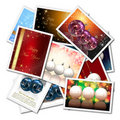 Christmas balls collage Royalty Free Stock Images