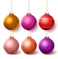 Christmas balls colorful decoration set hanging in isloated white background Royalty Free Stock Photo