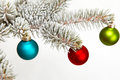 Christmas balls colorful hanging on fir branch Stock Image