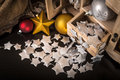 Christmas balls and decorations old wooden box with various Stock Photo