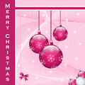 Christmas balls decorations scene with hanging ornamental pink snowflakes stars and snow copy space for text Royalty Free Stock Photo