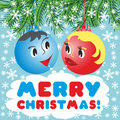 Christmas balls with a faces in the animated style merry Stock Image