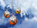 Christmas balls frosty background colorful decoration on blue Royalty Free Stock Image