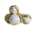 Christmas balls gold and white isolated on white background Royalty Free Stock Photo