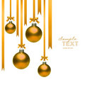 Christmas balls hanging with ribbons on white Stock Images