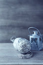 Christmas balls and a lantern still life with old fashion Royalty Free Stock Images