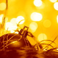 Christmas balls ornament stock photos golden tree decoration on blurred gold background Royalty Free Stock Photography