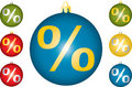Christmas balls with percent. Royalty Free Stock Image