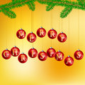 Christmas balls with pine branch hanged on letters wishing merry Stock Photography