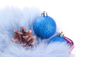 Christmas balls and pinecones Royalty Free Stock Photo
