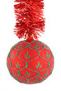 Christmas balls red on chains Royalty Free Stock Photo