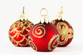 Christmas balls in red and gold ii three Stock Photography