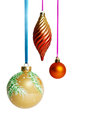 Christmas balls on ribbon hanging Stock Photography