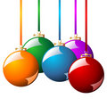 Christmas balls with ribbons Royalty Free Stock Photos