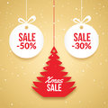 Christmas balls sale. Special offer vector tag. New year holiday card template. Shop market poster design with xmas tree