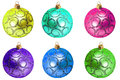 Christmas balls set decoration isolated white background Stock Photos
