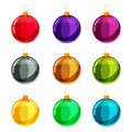 Christmas balls. Set of isolated cartoon decorations. Vector illustration.