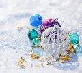 Christmas balls in the snow Stock Photography