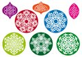 Christmas balls with snowflake pattern, vector Stock Images