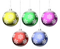 Christmas balls with snowflakes set hanging on strings isolated on white background Royalty Free Stock Photo