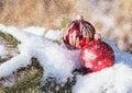 Christmas Balls On Snowy Day O...