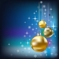 Christmas balls and stars blue background Royalty Free Stock Photo