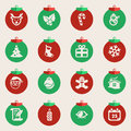 Christmas balls with symbols of christmas flat style Royalty Free Stock Photos