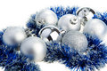 Christmas balls and tinsel Royalty Free Stock Photo