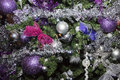 Christmas balls, traditional decorations for xmas tree, silver and purple combination Royalty Free Stock Photo