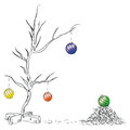 Christmas balls on the tree chipped vector drawing hand Royalty Free Stock Photos