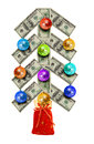 Christmas balls on tree currency over white Royalty Free Stock Photo