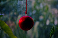 Christmas balls tree decoration red ball from in green background Royalty Free Stock Photo