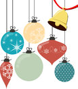 Christmas balls vector and bell isolated on white background Royalty Free Stock Image
