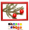 Christmas balls in wood frame Royalty Free Stock Image