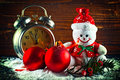 Christmas balls and wool snowman as new years eve decor Royalty Free Stock Image
