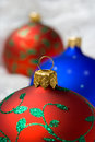 Christmas balls in wrapping paper Stock Photography