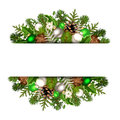 Christmas banner with green and silver fir branches, balls, cones, holly and mistletoe. Vector eps-10 Royalty Free Stock Photo