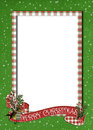 Christmas banner on plaid border Royalty Free Stock Photo